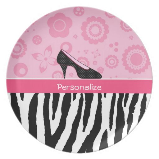 Cute Pink Black Shoes Trendy Zebra Print With Name Dinner Plate