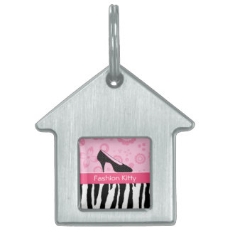 Cute Pink Black Shoes Trendy Zebra Print With Name Pet ID Tag