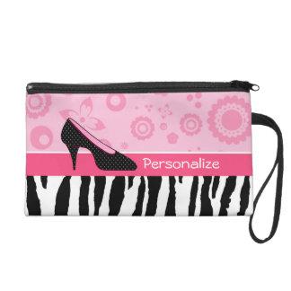 Cute Pink Black Shoes Trendy Zebra Print With Name Wristlet Purse