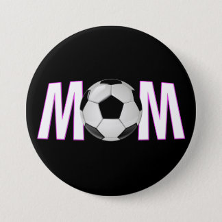 Cute Pink & Black Soccer Mom Button Pin