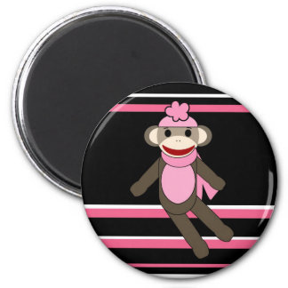 Cute Pink Black Stripe Sock Monkey Girl Flower Hat 2 Inch Round Magnet
