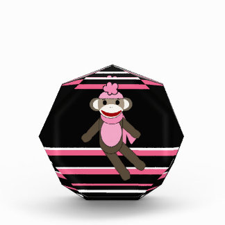 Cute Pink Black Stripe Sock Monkey Girl Flower Hat Award