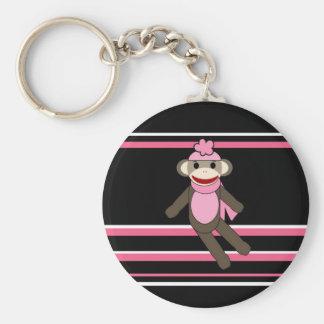 Cute Pink Black Stripe Sock Monkey Girl Flower Hat Basic Round Button Keychain