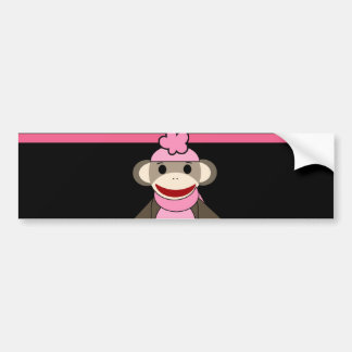 Cute Pink Black Stripe Sock Monkey Girl Flower Hat Bumper Sticker