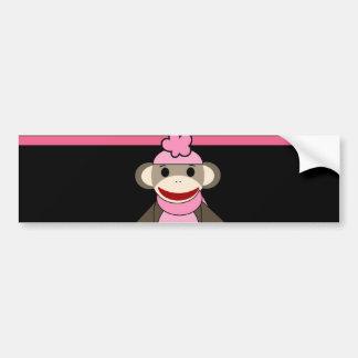 Cute Pink Black Stripe Sock Monkey Girl Flower Hat Bumper Stickers