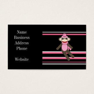 Cute Pink Black Stripe Sock Monkey Girl Flower Hat Business Card