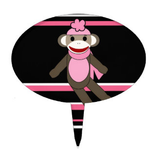 Cute Pink Black Stripe Sock Monkey Girl Flower Hat Cake Topper