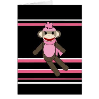 Cute Pink Black Stripe Sock Monkey Girl Flower Hat Card