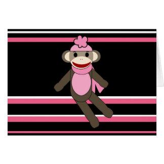 Cute Pink Black Stripe Sock Monkey Girl Flower Hat Cards