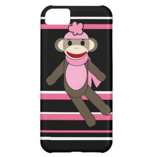 Cute Pink Black Stripe Sock Monkey Girl Flower Hat iPhone 5C Cover
