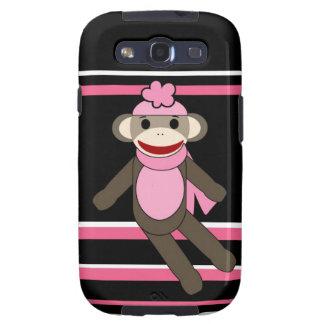 Cute Pink Black Stripe Sock Monkey Girl Flower Hat Galaxy S3 Case