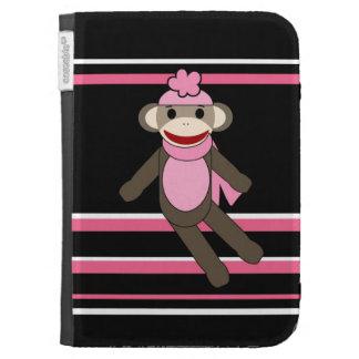 Cute Pink Black Stripe Sock Monkey Girl Flower Hat Kindle Folio Case