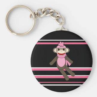 Cute Pink Black Stripe Sock Monkey Girl Flower Hat Key Chain