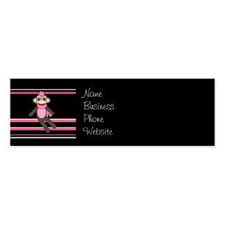 Cute Pink Black Stripe Sock Monkey Girl Flower Hat Mini Business Card
