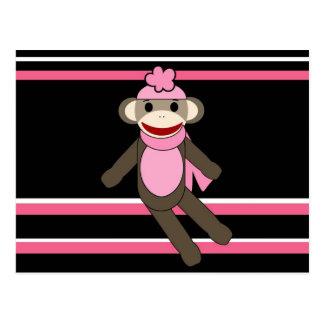 Cute Pink Black Stripe Sock Monkey Girl Flower Hat Postcard