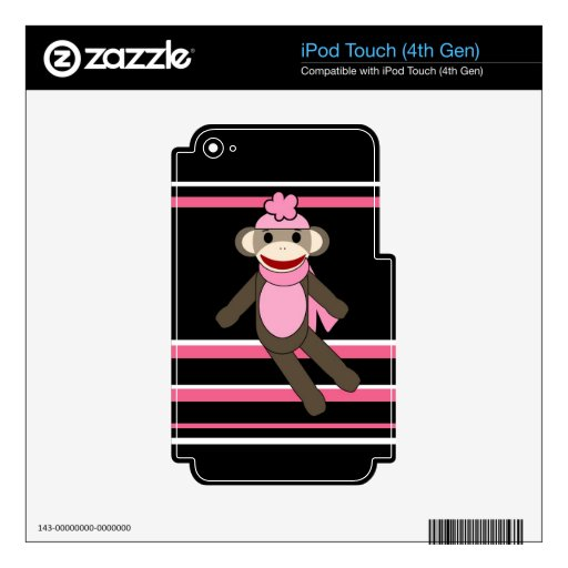 Cute Pink Black Stripe Sock Monkey Girl Flower Hat Decals For iPod Touch 4G