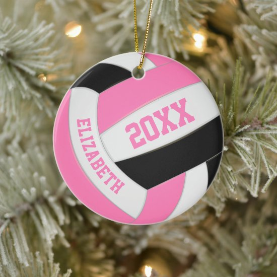 cute pink black white girly volleyball ceramic ornament