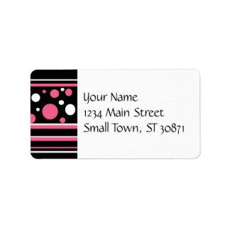 Cute Pink Black White Stripes Polka Dots Pattern Custom Address Label