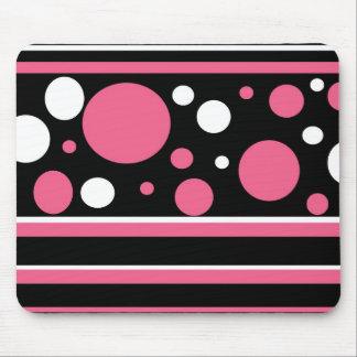 Cute Pink Black White Stripes Polka Dots Pattern Mouse Pad