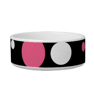 Cute Pink Black White Stripes Polka Dots Pattern Cat Food Bowls