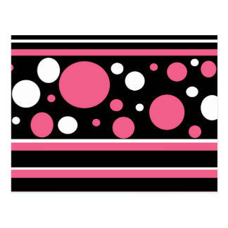 Cute Pink Black White Stripes Polka Dots Pattern Postcard