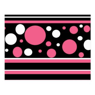 Cute Pink Black White Stripes Polka Dots Pattern Postcard