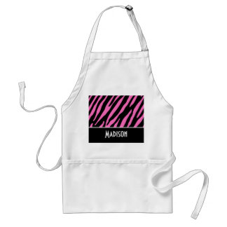 Cute Pink & Black Zebra Stripes Adult Apron