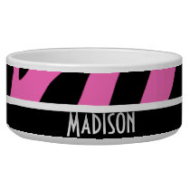 Cute Pink & Black Zebra Stripes Bowl