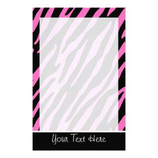 Cute Pink & Black Zebra Stripes Stationery