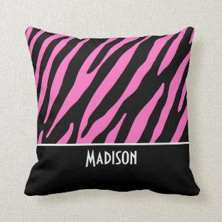Cute Pink & Black Zebra Stripes Throw Pillow