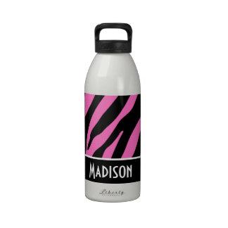 Cute Pink Black Zebra Stripes Drinking Bottles