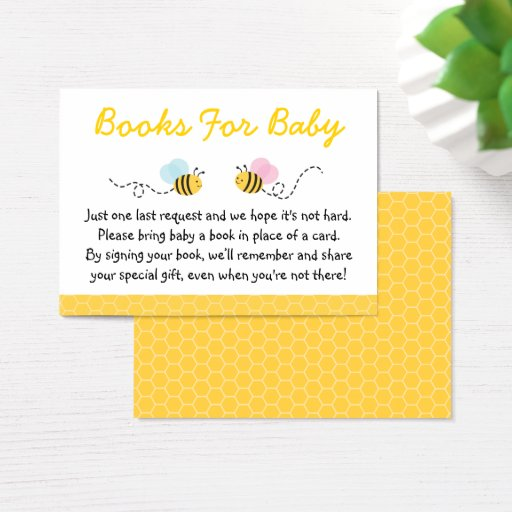 Cute Pink & Blue Bumble Bee Book Request Cards