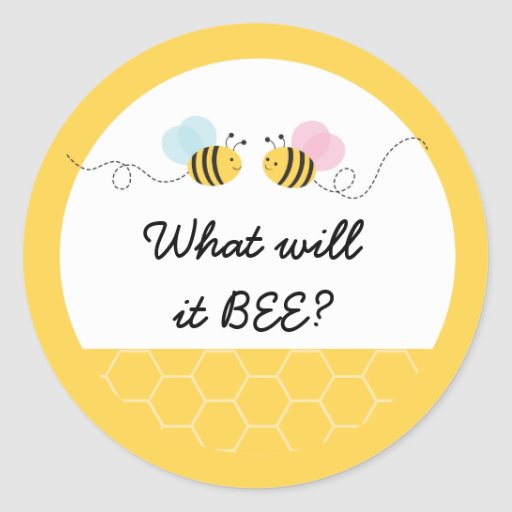 Cute Pink & Blue Bumble Bee Gender Reveal Classic Round Sticker