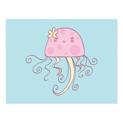 Cute Pink Blue Cartoon Jellyfish Post Cards