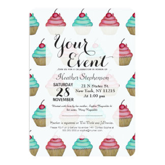 Cute Pink & Blue Cupcake with Cherry on Top Card