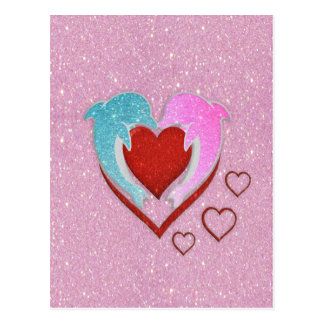 Cute pink blue dolphins holding a red heart postcard