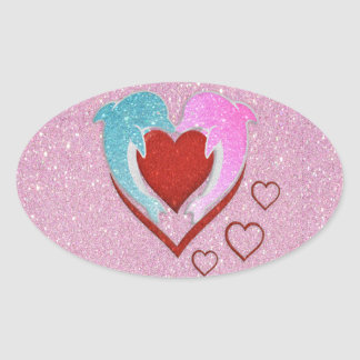 Cute pink blue dolphins holding a red heart oval sticker