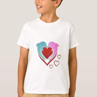 Cute pink blue dolphins holding a red heart T-Shirt