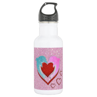 Cute pink blue dolphins holding a red heart water bottle