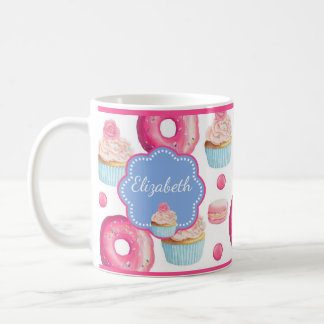 Cute Pink & Blue Donuts and Cupcakes Personalized Coffee Mug