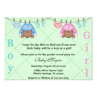 Cute Pink & Blue Gender Reveal Party Invitation