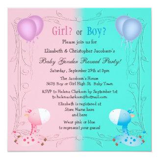 Cute Pink & Blue Giraffes Baby Gender Reveal Invites