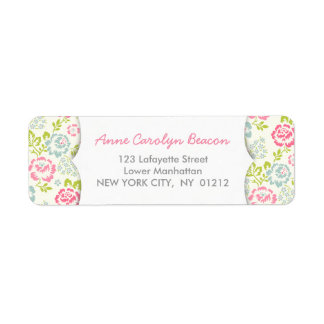 Cute Pink & Blue Girly Floral Label