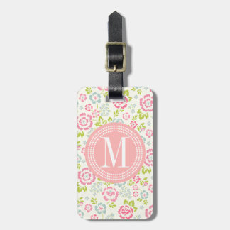 Cute Pink & Blue Girly Floral Personalized Bag Tag