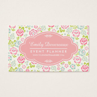 Cute Pink & Blue Girly Floral Personalized Business Card
