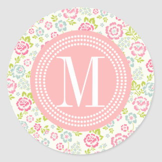 Cute Pink & Blue Girly Floral Personalized Classic Round Sticker