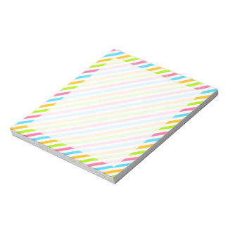 Cute Pink Blue & Green Stripes; Striped Pattern Notepad