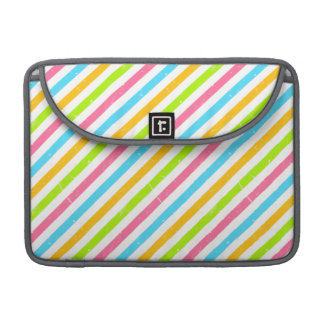 Cute Pink Blue & Green Stripes; Striped Pattern Sleeve For MacBooks