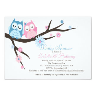 Cute Pink & Blue in Love Owl Couple Baby Shower Card
