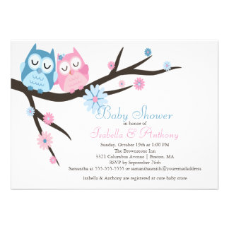 Cute Pink & Blue in Love Owl Couple Baby Shower Personalized Invite